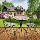 Mosaic Bistro Set Table Folding Chair Home Garden Outdoor Patio Furniture Dining