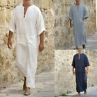 Mens Plain Ethnic Robes Loose Long Sleeve Muslim Middle East Maxi Dress Kaftan