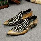 Men Runway Leisure Formal Pointy toe Business Party Slip On Leather Shoes Loafer