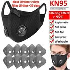 Reusable Sports Mouth Masks With Breathing Valve 10x Activated Carbon Filter Pad