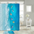 Blue Sea And Colorful Boats Shower Curtain Bathroom Decor Fabric 12hooks 71in