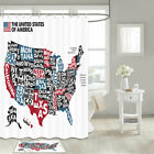 Us State Map Shower Curtain Bathroom Decor Fabric 12hooks 71in