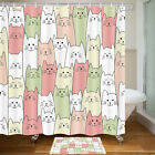 Cute Pet Cat Shower Curtain Bathroom Decor Fabric 12hooks 71in