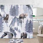 Wolf, Moose, Bear, Eagle Shower Curtain Bathroom Decor Fabric 12hooks 71in