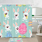 Happy Bunny And Easter Eggs Shower Curtain Bathroom Decor Fabric 12hooks 71in