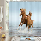 Brown Horse Mother And Child Shower Curtain Bathroom Decor Fabric 12hooks 71in