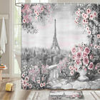 Pink Flowers And Iron Tower Shower Curtain Bathroom Decor Fabric 12hooks 71in
