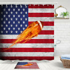 Flame Rugby And Us Flag Shower Curtain Bathroom Decor Fabric 12hooks 71in