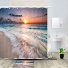 Sunset And Waves Shower Curtain Bathroom Decor Fabric 12hooks 71in