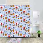 Baseball And Basketball Shower Curtain Bathroom Decor Fabric 12hooks 71in