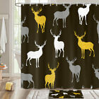 Deer Silhouette Shower Curtain Bathroom Decor Fabric 12hooks 71in