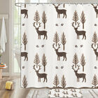 Abstract Deer And Bushes Shower Curtain Bathroom Decor Fabric 12hooks 71in