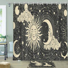 Abstract Sun And Moon Shower Curtain Bathroom Decor Fabric 12hooks 71in