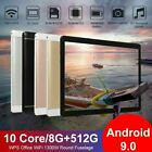 "10.1"" WiFi Tablet Android 9.0 HD 8G+512G 10 Core PC Google GPS+ Dual Camera 2020"