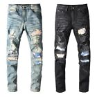 Men's Ripped Sanding Patchwork Folds Dirty Wash Skinny fit Stretch Denim Jeans