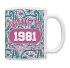 40th Birthday Gift Made 1981 Paisley Birthday Mug Decorations Coffee Mug Tea Cup