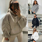 Women's Ruched Oversized Long Sleeve Baggy Plain Hooded Hoodies Jumper Pullover