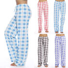 Womens Checked Lounge Pants Pyjama Bottoms Loose Plaid Print Sleepwear Trousers