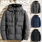 Mens Winter Warm Quilted Puffer Coat Hooded Padded Thick Jacket Parka Outwear