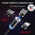 3x LED Rotate Magnetic Fast Charging Cable For iPhone Android 360° Charger Cord