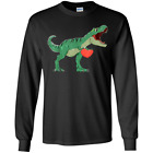 Unisex Kids Valentines Day T-Rex Dinosaur I Steal Hearts Gift Youth LS T-Shirt