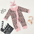 Infant Toddler Newborn Baby Leopard Print Jumpsuit Romper Headbands 2PC Pink