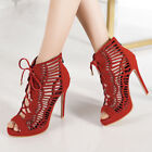 Women's Gladiator Sandals Open Toe Lace Up Stilettos High Heeled Pumps Shoes