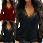 Womens Lace Floral T-shirt Long Sleeve V Neck Blouse Wet Look Nightclub Pullover