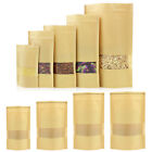 50x Zip Lock Stand Up Kraft Paper Food Packaging Bags Pouches with Window