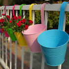 10x Metal Flower Pot Hanging Balcony Garden Fence Plant Planter Pots Home Decor