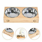 Double Bowls Stand Pet Cat Puppy Stainless Steel Feeding Station Food Water 2021