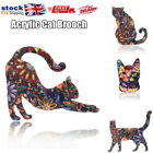 Acrylic Kitten Cat Brooch Pin Badge Gift Cat Lover Floral Flowers Jewellery Lady