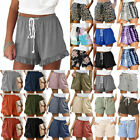 Summer Womens Elastic Waist Shorts Casual Beach Drawstring Wide Leg Hot Pants