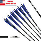 12 Pack 30'' Archery Carbon Arrows 5.8'' Turkey Feather For Recurve longBow
