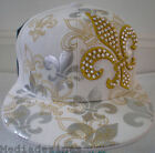 NEW WHITE KING BLING HIP HOP FITTED BASEBALL HAT CAPS