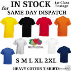 Mens Plain Heavy Cotton T-Shirts Fruit of the Loom S,M,L,XL,XXL,XXXL
