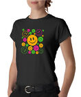 Neon Smiles Happy Faces Ladies Tee Shirt