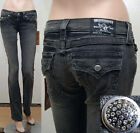 $260 NWT WOMEN'S TRUE RELIGION JEANS BILLY GLITZ GLAM CRYSTAL PAVE FADED BLACK