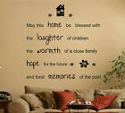 May This Home Be Blessed Vinyl Wall Art Sticker Decal Quote Bedroom, Lounge hall