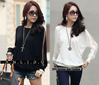 New Trendy Sexy Korean Womens Long-sleeved Round Neck Loose Lady T-shirt 7946#