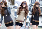 New Trendy Womens High Collar Lace Puff Sleeve Lady Tops T-shirt 4863#