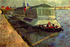 "Vincent Van Gogh- Bathing Float on the Seine at Asniere - 20""x26""   on Canvas"