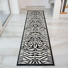 Shiraz Modern Black Ivory Zebra Print Long Hall Runner Rug Animal Safari Mats UK