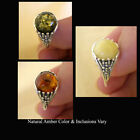 BALTIC GREEN, WHITE or HONEY AMBER & STERLING SILVER RING VARIOUS SIZES
