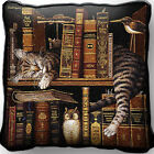 Frederick The Literate Kitty Cat by Charles Wysocki Woven Art Tapestry Pillow