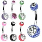 GlitterBall Crystal Gem Navel Belly Bar 14ga (1.6 mm) size from 6mm to 16mm
