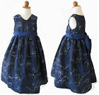 NEW Pretty Flower Girls Party Dress Cotton 2-6yr Navy