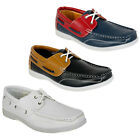 30D NEW MENS FAUX LEATHER SLIP ON LACE UP FLAT DECK LOAFER BOAT SHOES SIZE 6-11