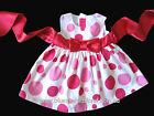 NEW Baby Girls Cotton Dress Size 000-4 with Huge Satin Bow + Pink Polka Dots