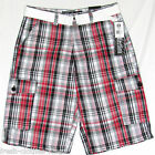 SOUTHPOLE New Mens King of Fresh Red Black Plaid Shorts Choose Size